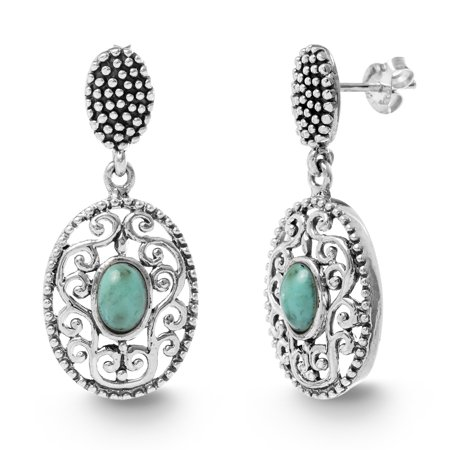 Simulated Turquoise Disc Drop Beaded Post Earring in Sterling Silver