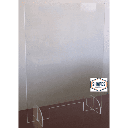 Acrylic Freestanding Sneeze Guard Barrier | Medical/Office/Warehouse/Retail - Easy to Assemble