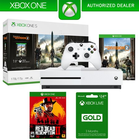 Microsoft Xbox One S Bundle 1 TB Console with Tom Clancy's The Division 2 (234-00872) + Red Dead Redemption 2 For Xbox One & Xbox Live 3 Month Gold (Best Membership Rewards Redemption)