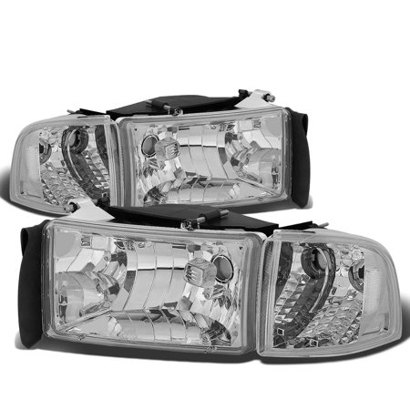 For 94-02 Dodge Ram Truck 1500/2500/3500 Headlight+Corner Lamp Chrome Housing Clear Side 95 96 97 98 99 00 01 Left+right