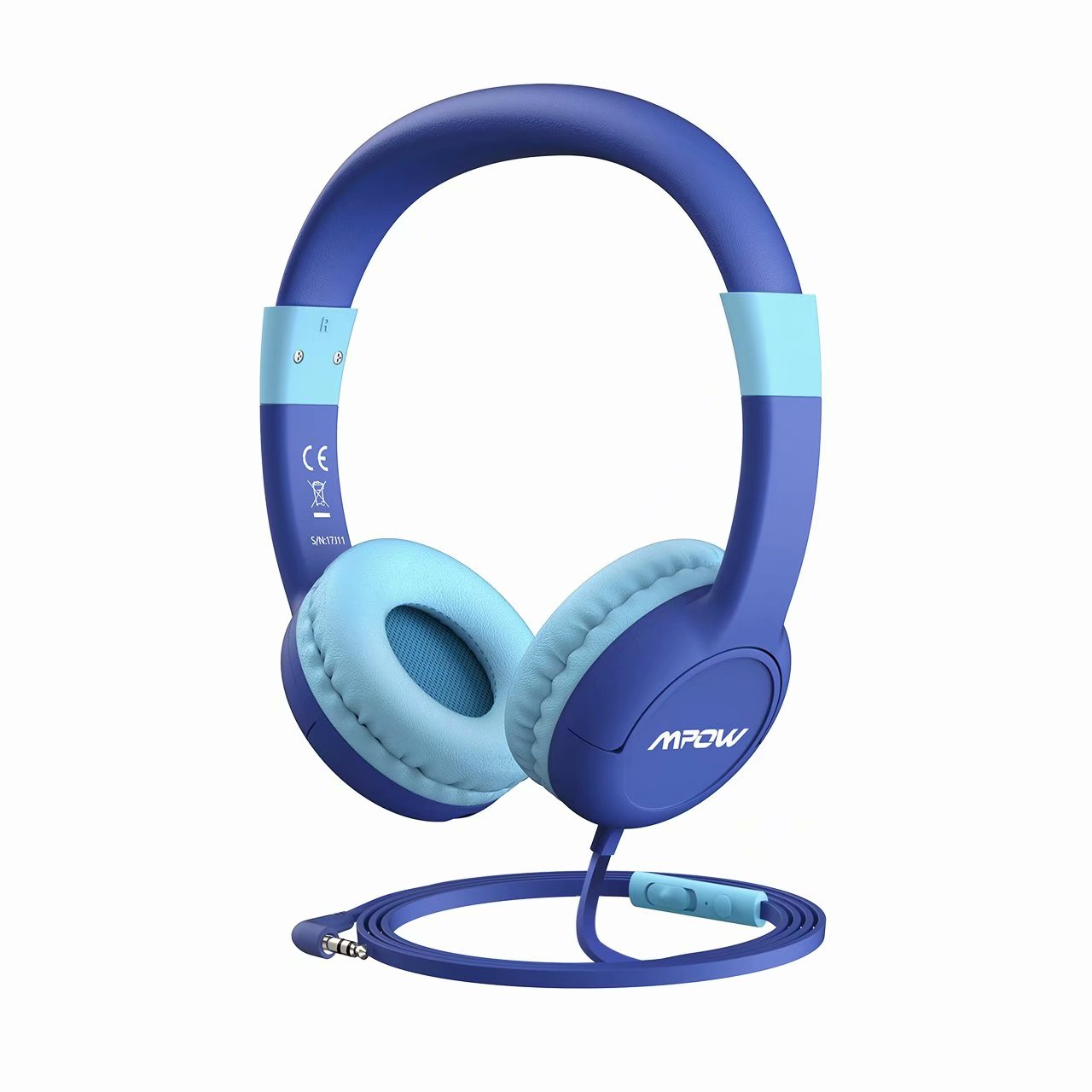 Mpow Kids Headphone with 85dB Volume Limited Hearing Protection & Volume and Mic Control, Music Sharing Function, Safe Food Grade Material, 3.5mm Audio Jack Wired On-Ear Headphones for Children (Blue)