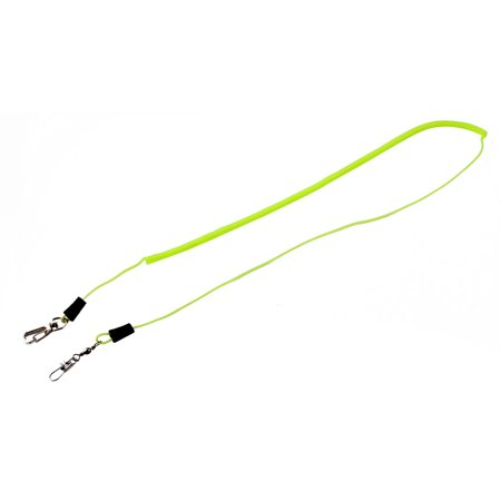 Fishing Angling Plasic Spiral Flexible End Fish Lanyard Cable Neon Yellow 2M