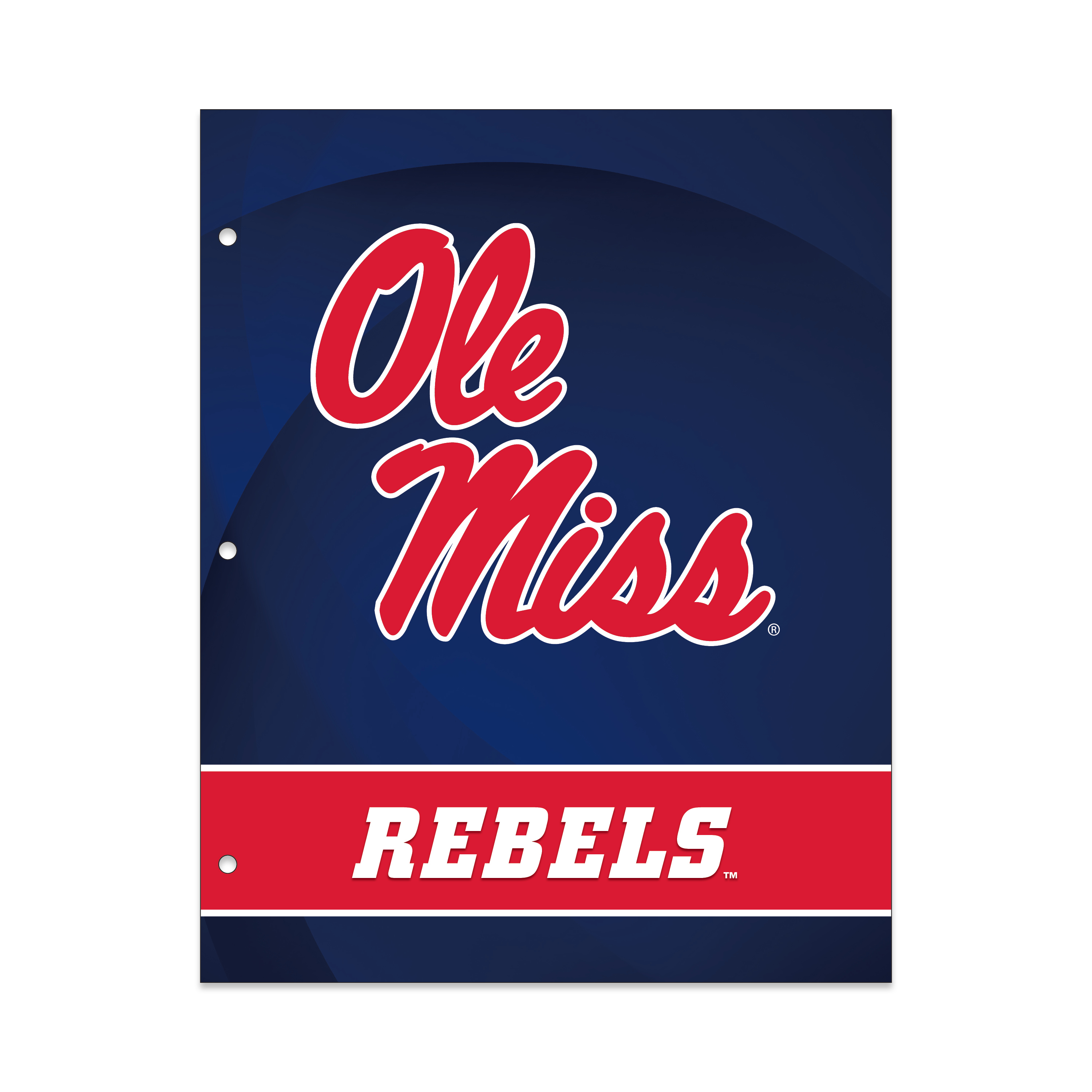 NCAA Mississippi Rebels 2 Pocket Portfolio, Three Hole Punched, Fits Letter Size