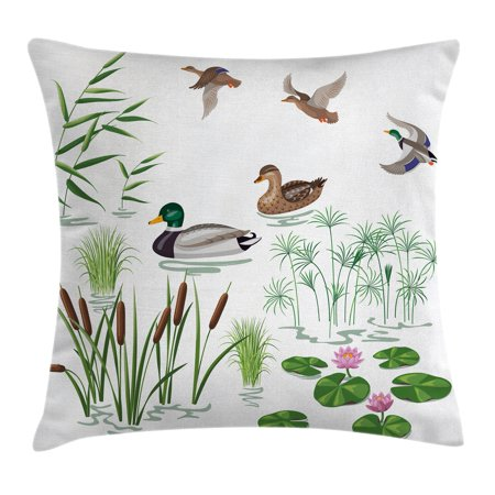Duck Throw Pillow Cushion Cover, Lake Animals and Plants with Lily Flowers Reeds Cane in the Pond Nature Park Print, Decorative Square Accent Pillow Case, 20 X 20 Inches, White -