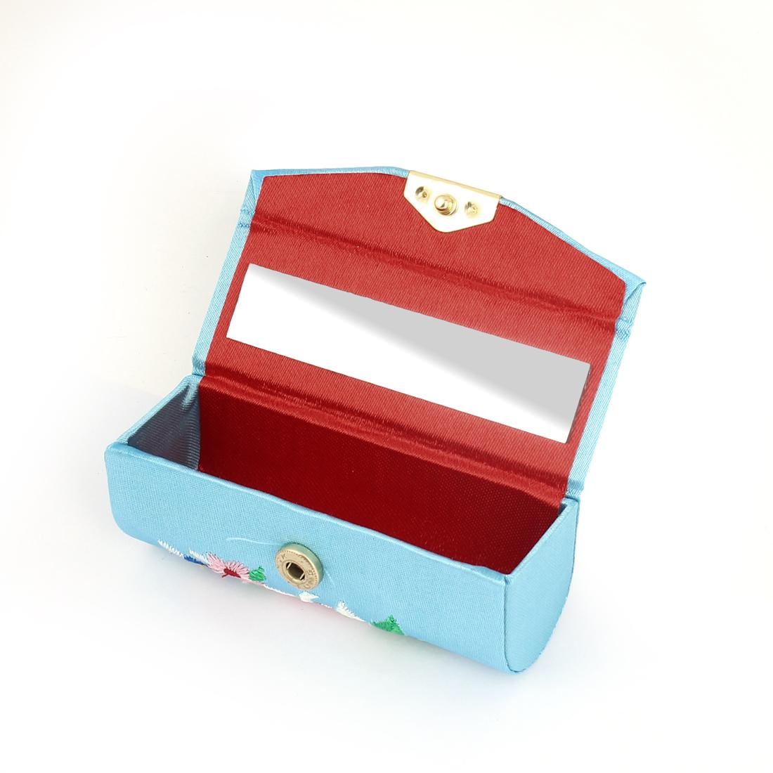 Lady Floral Embroidery Mirror Lipstick Lip Balm Chap Stick Case Box Holder Blue - image 1 de 2