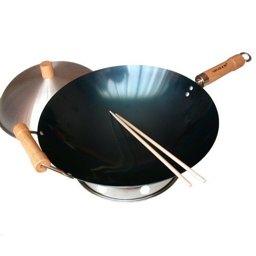 Taylor & Ng 4 Piece 14'' Preseasoned Round Bottom Wok Set
