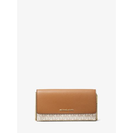 Michael Kors Large Logo and Leather Convertible Chain Wallet in Vanilla/Acorn ()