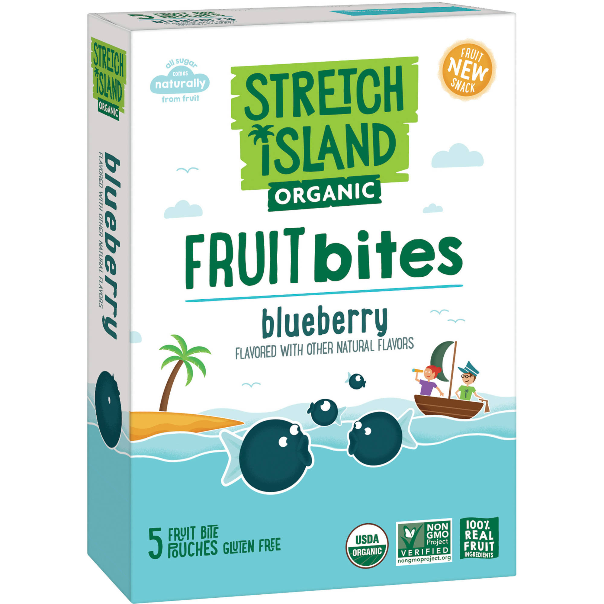 (2 Pack) Stretch Island Organic Blueberry Fruit Bites, 0.7 oz, 5 count