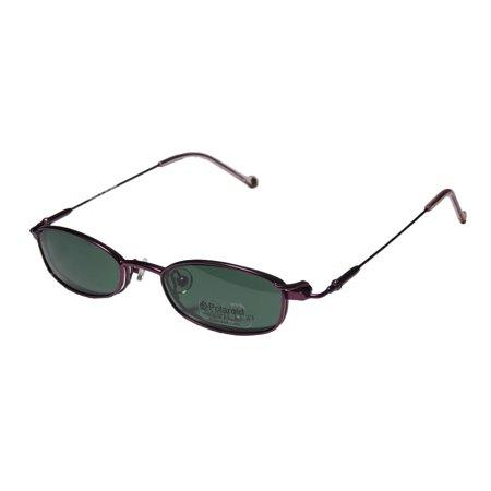 New Smartclip 282 Mens/Womens Designer Full-Rim Purple Ophthalmic Lenses By Polaroid Frame Demo Lenses 47-19-135 Sunglass Lens Clip-Ons Flexible Hinges (Ophthalmic Glasses)