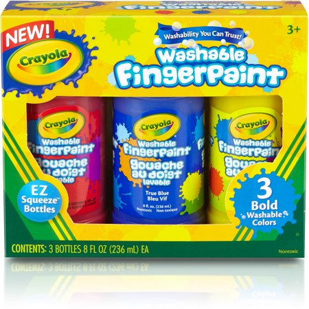 Crayola Washable Bright Fingerpaints  Primary Colors  3 Pack