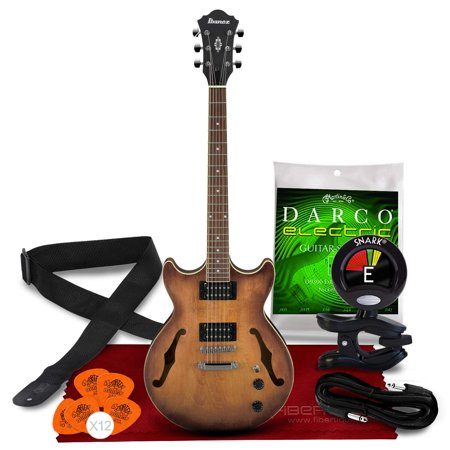 Ibanez AM53 Artcore Series Hollow-Body Electric Guitar (Tobacco Flat) + Guitar Strings, Guitar Strap, Clip-on Guitar Tuner, Guitar Picks, Cable and ?Fibertique Microfiber Cleaning Cloth.
