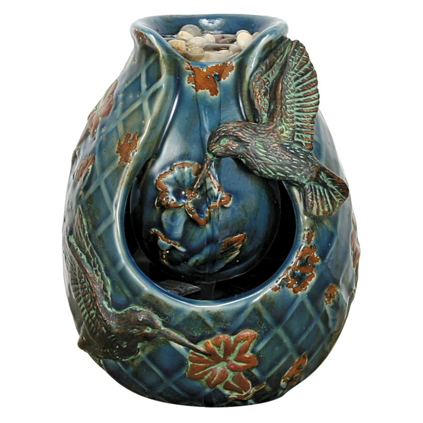 Foreside Home and Garden Blue Verdigris Hummingbird Tabletop Fountain