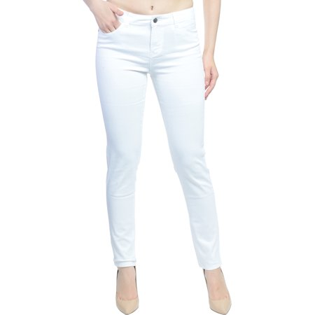 Hey Collection Womens Brushed Stretch Twill Mid Rise Skinny Jeans