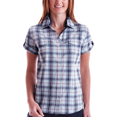 faded glory women 39 s organic cotton plaid camp shirt