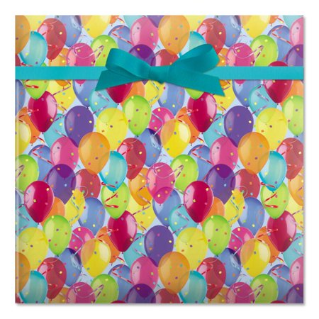 Photo Balloons Birthday Rolled Gift Wrap - 72 sq. ft. (Birthday Balloons Gift Wrap)