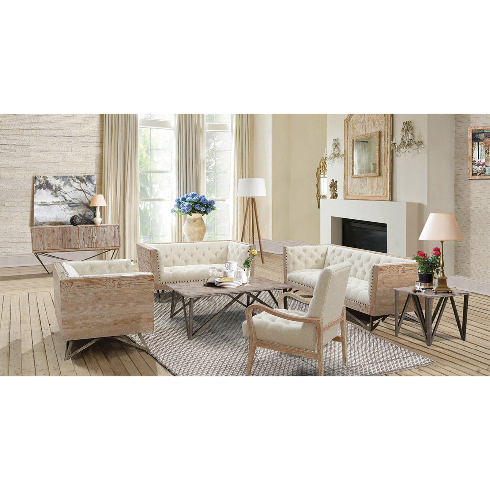 Armen Living Regis Cream Sofa with Pine Frame and Gunmetal Legs