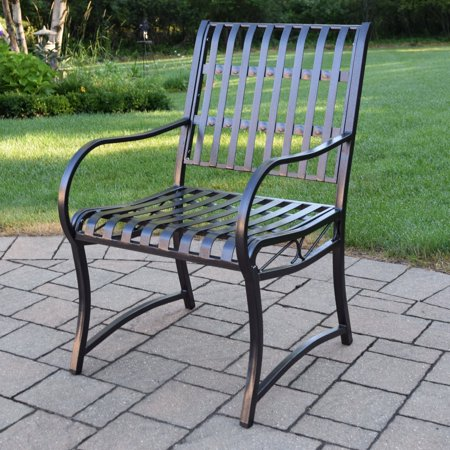 Oakland Living Noble Wrought Iron Patio Arm Chair Walmart Com