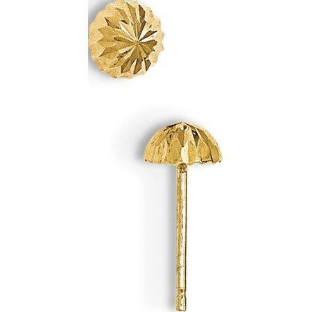 14k Boucles d'oreilles 5 mm Domed post-coupe diamant or jaune (5x5 mm) - image 2 de 2