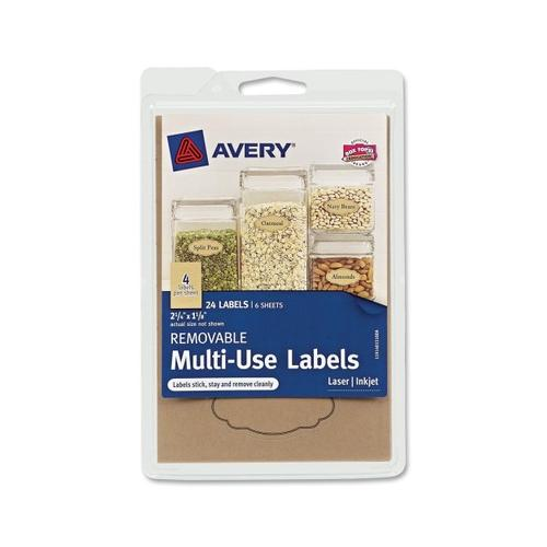 """Avery Removable Multi-Use Labels 40151, Kraft Brown, 1-1/8"""" x 2-1/4"""", Pack of..."""