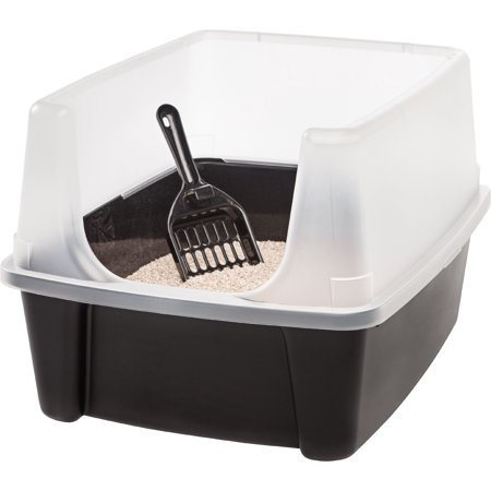 IRIS Open-Top Cat Litter Box with Shield and Scoop,