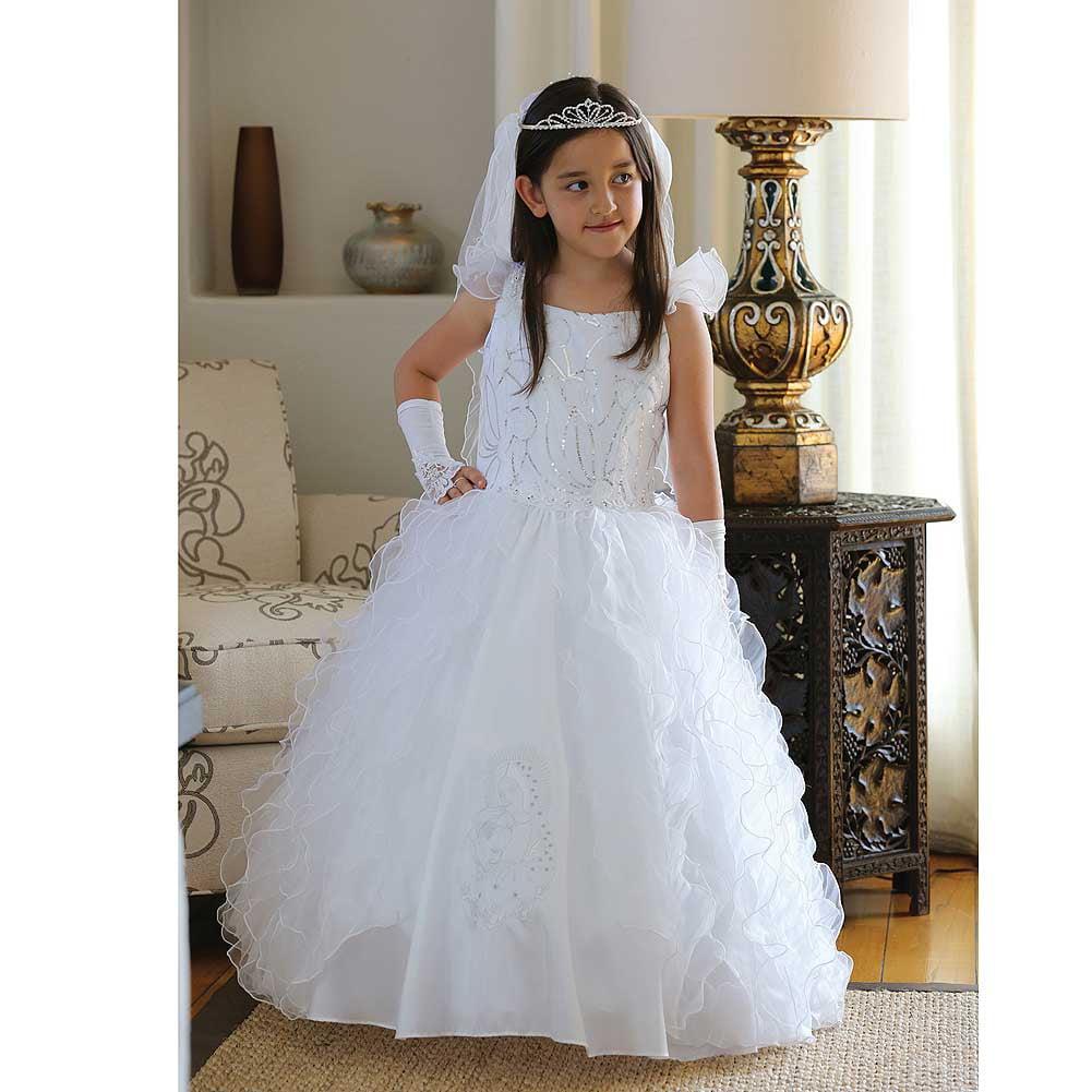 Angels Garment Girl 18 White Taffeta Ruffle Holy Communio...