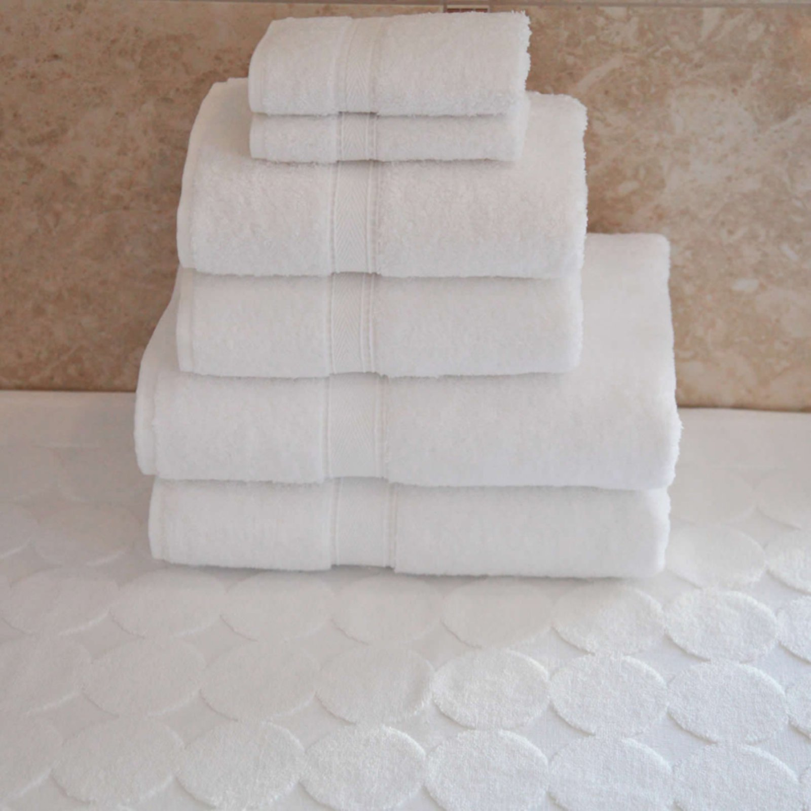 Luxury Hotel & Spa 100% Turkish Cotton 7 pc. Combination including Circle Design Bath Mat