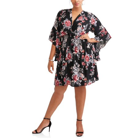 Women's Plus Size Dramatic Bell Sleeve Floral Surplice Dress - Plus Size Bell Bottoms