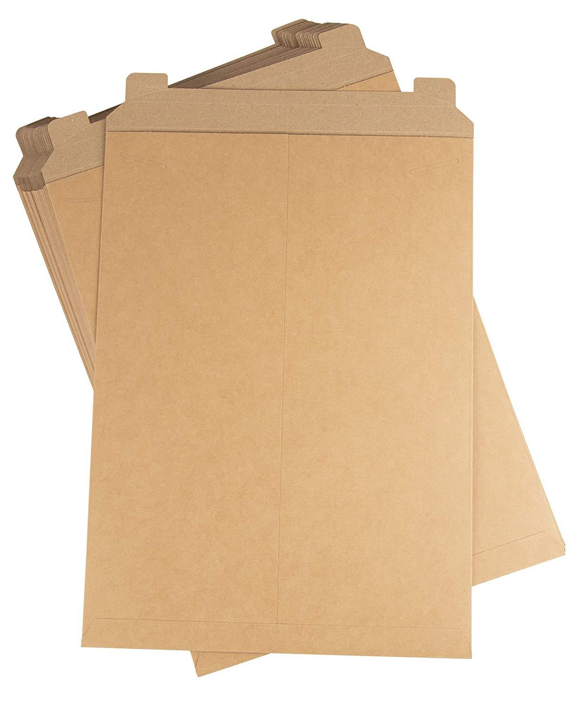 200 Pack Self Adhesive Sealing Strip Flat Rigid Mailer Kraft Brown 9.75 x 12.25 inch Cardboard Mailers Shipping Envelopes