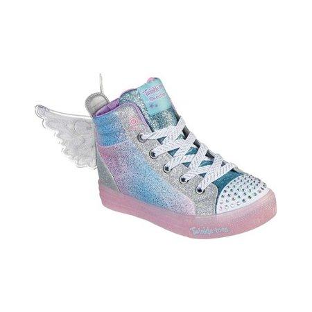Girls' Skechers Twinkle Toes Shuffle Brights Glimmer Wings Sneaker