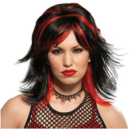 Rocker Unisex Black and Red Wig Adult Halloween - Halloween Rocker
