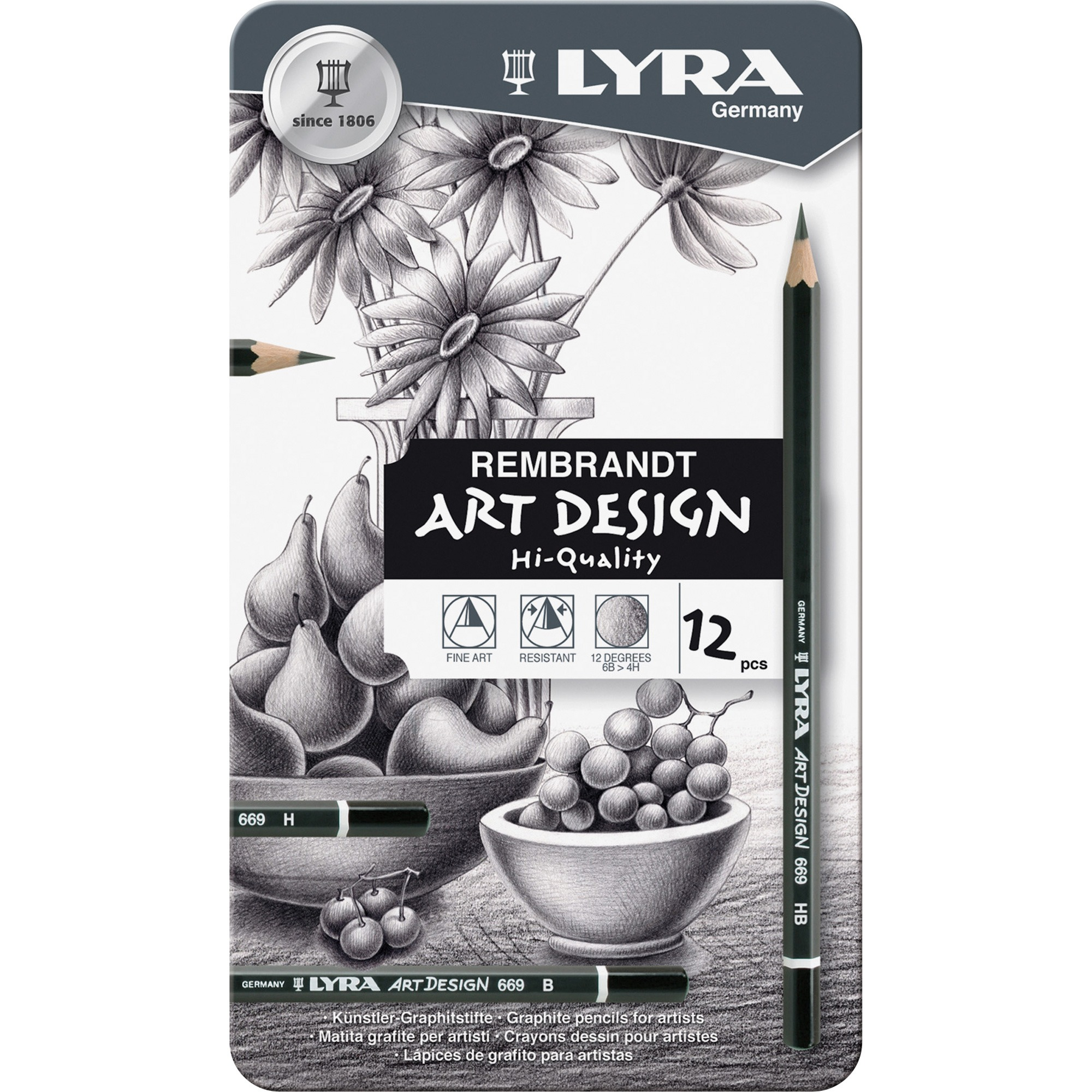 Lyra Graphite Art Pencils, Black, 12 Count