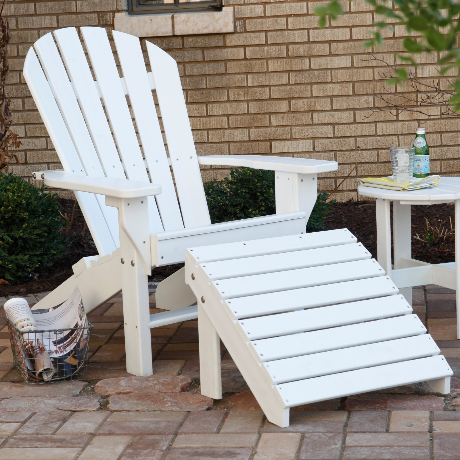 Jayhawk Plastics Recycled Plastic Seaside Adirondack Chair And Ottoman Set