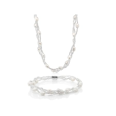 - Twisted White Cultured Freshwater Pearl Necklace & Bracelet With Magnetic Clasp