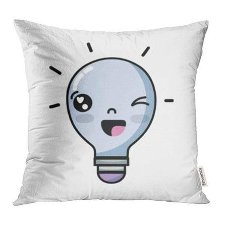 CMFUN Adorable Kawaii Cute Funny Bulb Idea Caricature Cartoon Character Crazy Creative Pillowcase Cushion Cover 18x18 inch (Creative And Cute Costume Ideas For Halloween)