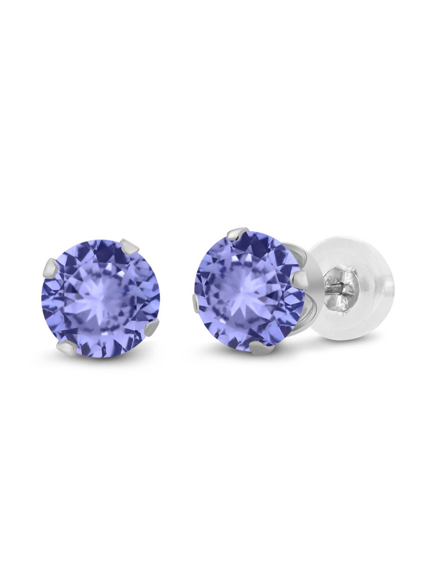 0.60 Ct Round 4mm Blue Tanzanite 14K White Gold Stud Earrings