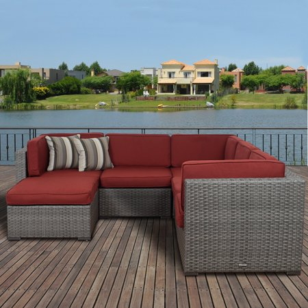 Bellagio Patio - Atlantic Bellagio 6 Piece Patio Sectional Set with Sunbrella cushions