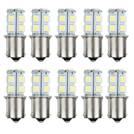 AUTOSAVER88 10pcs 1156 Super Bright White LED Bulbs for Replacement of Turn Signal Light Car Back up Parking Tail Light BA15S 13-SMD 5050 6500K 12V 1129 1141 1159 1259