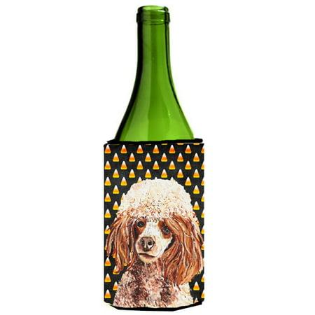 Best Red Wine For Halloween (Red Miniature Poodle Candy Corn Halloween Wine Bottle Beverage Insulator Hugger)