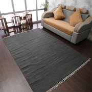 Rugsotic Carpets Hand Woven Flat Weave Kilim Wool 8'x10' Area Rug Solid Charcoal D00111