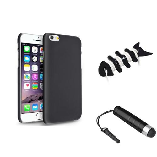 Insten Black Rear Clip-on Hard Cover Case+Mini Stylus Pen+Headset Wrap For Apple iPhone 6S 6 4.7""