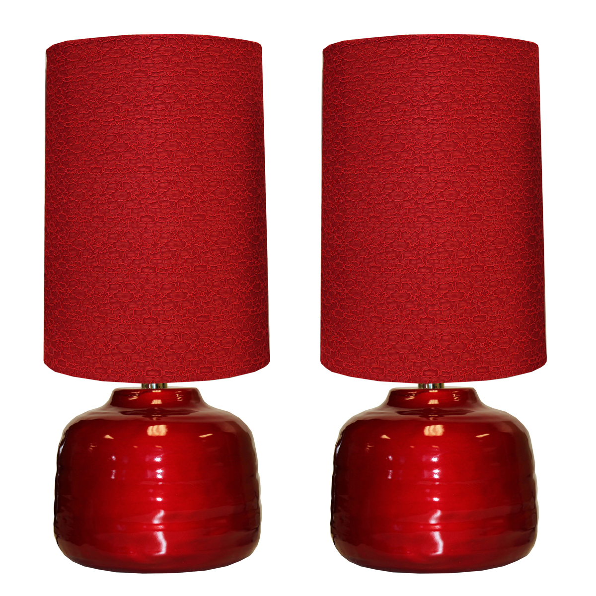 Urban Designs Candy Apple Red 23-inch Ceramic Table Lamp - Set of 2