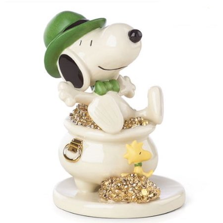 Lenox Peanuts Lucky Leprechaun Snoopy Sitting In Pot Of Gold Figurine 863911 New