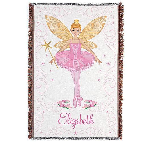 Personalized Ballerina Fairy Throw Blanket