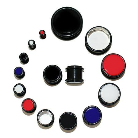 Lex & Lu Pair of Acrylic UV Sensitive Ear Plugs w/O-Ring Grooves 10G - 3/4