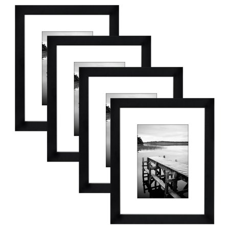 4-Pack, 8x10 Black Picture Frames - Display 5x7 Photos with Mats (Photo Mat)