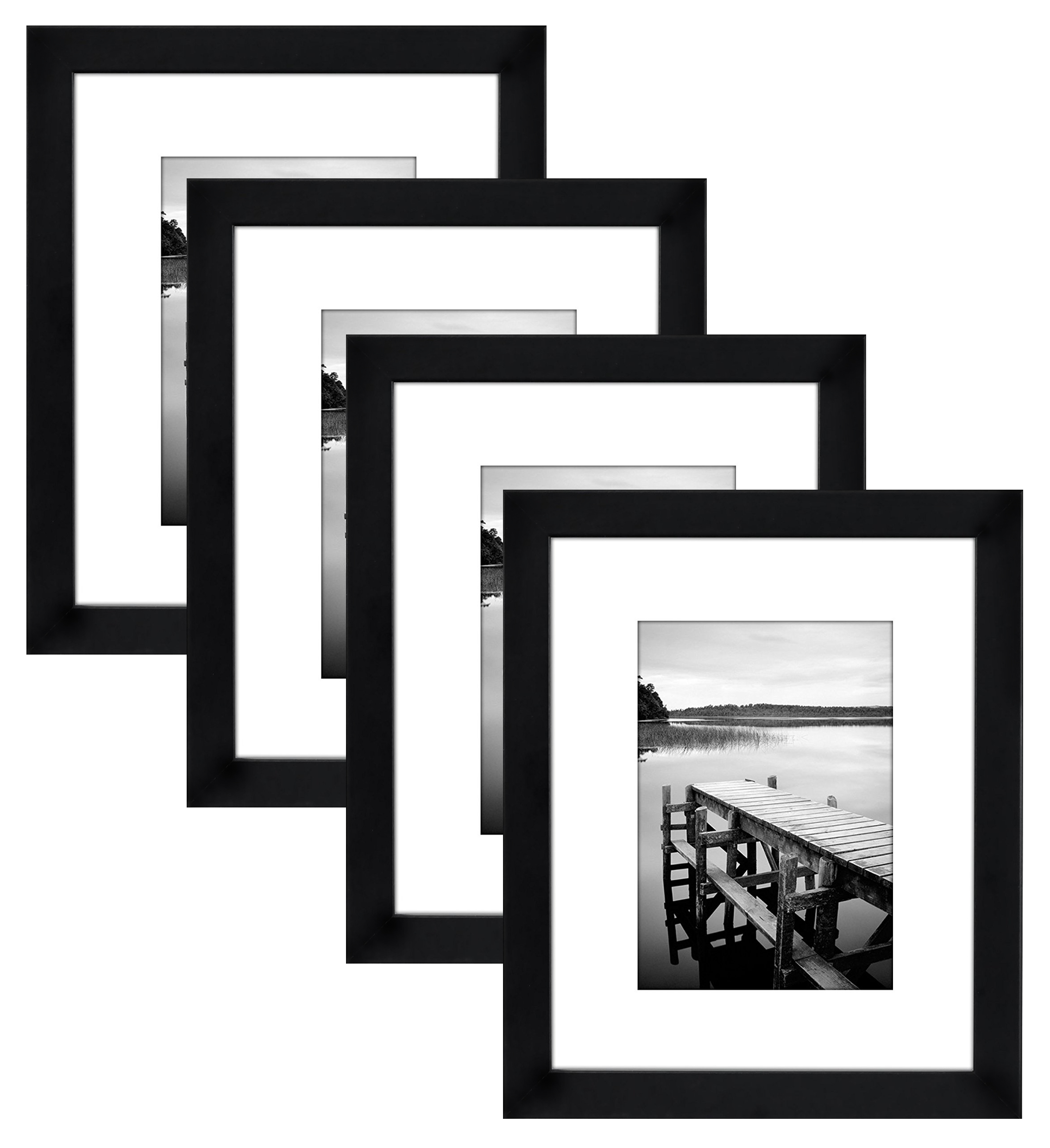4-Pack, 8x10 Black Picture Frames - Display 5x7 Photos with Mats