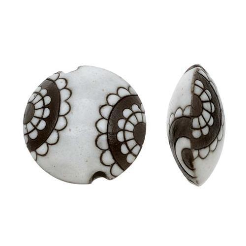 Golem Design Studio Ceramic Beads, 23mm Glazed Lentil Abstract Pattern, 2 Pieces, White/Brown