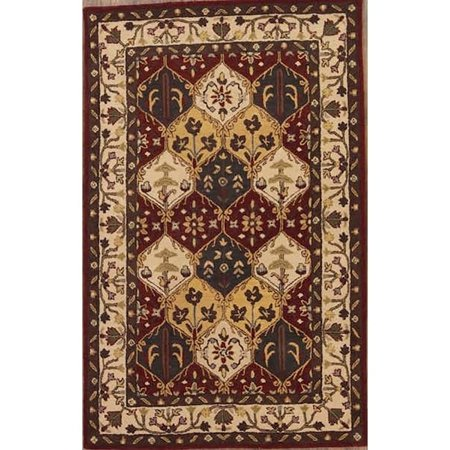 Rug Source Bakhtiari Agra Oriental Floral Area Rug Hand Tufted Wool Red - 5'0  x 8'0  This is a recently made hand tufted genuine Indian area rug with 100% wool pile, which is in first quality condition.  Features: Shape: Rectangle Rug Style: Bakhtiari Pattern: Floral Origin: India Foundation: Cotton Pile: 100% Wool Weave Type: Hand Tufted KPSI:  Size in Feet: 5' 0  x 8' 0  Size in CM: 239 x 150 Size Class: 5x8 Age: Recently Made Condition: First Quality Primary Color: Red & Burgundies Color Detail: Green,  Ivory,  Red,  Beige,  Brown,  Gold,  BurgundyTip: We recommend the use of a  non-skid pad to keep the rug in place on smooth surfaces.All rug sizes are approximate. Due to the difference of monitor colors, some rug colors may vary slightly. We try to represent all rug colors accurately. Please refer to the text above for a description of the colors shown in the photo.