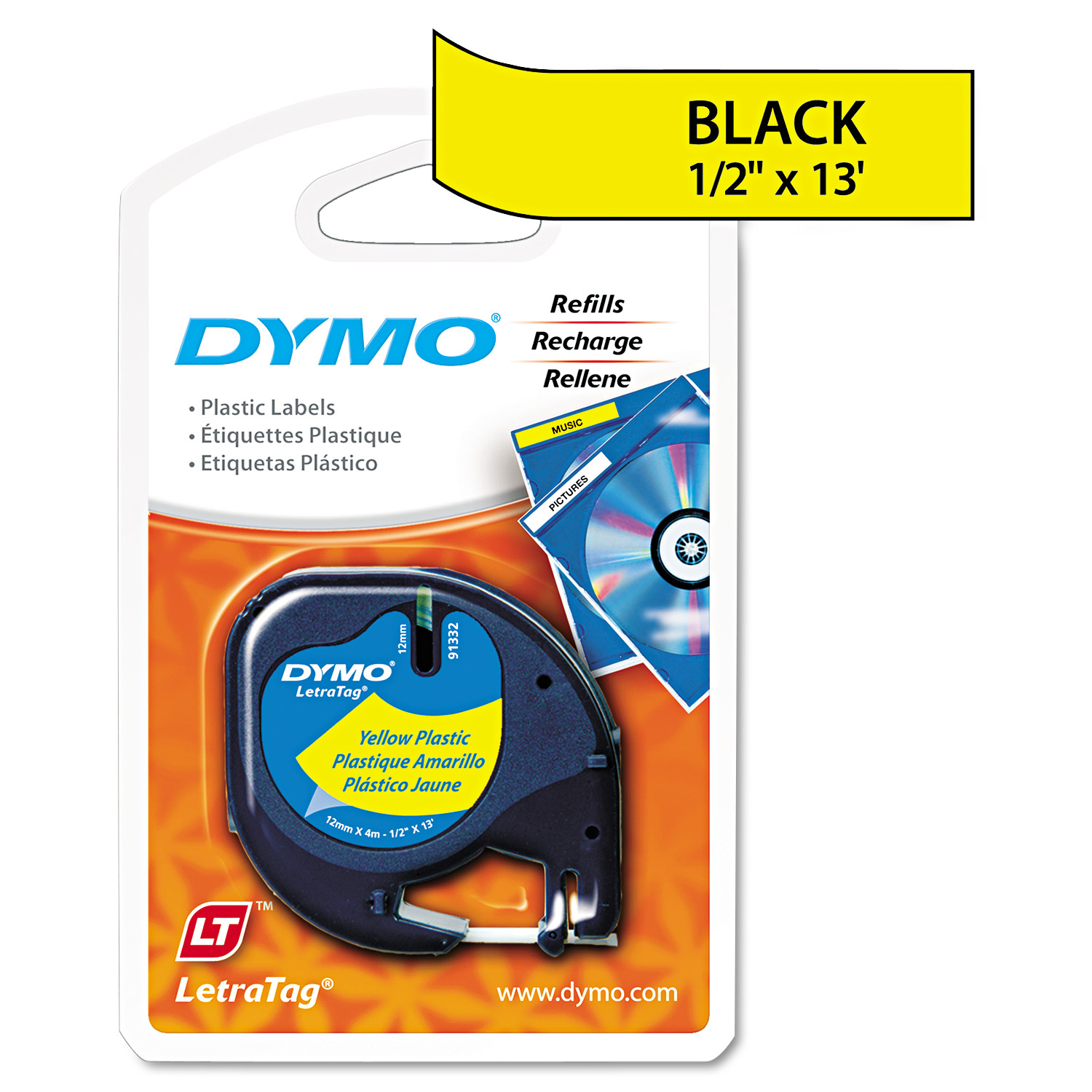 DYMO LetraTag Plastic Label Tape Cassette, 1/2in x 13ft, Hyper Yellow