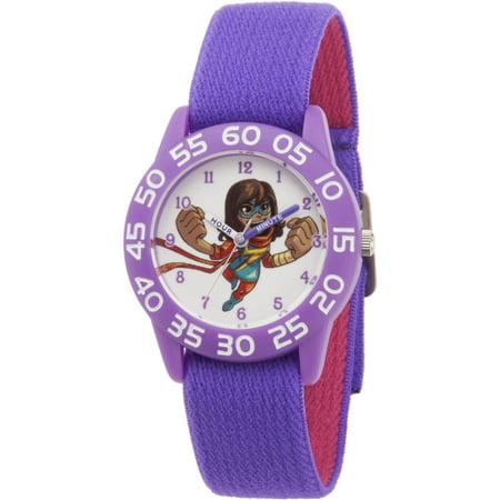 s Super Hero Adventure Ms. Kamala Khan Toddler Girls' Purple Plastic Time Teacher Watch (Microsoft Watch)